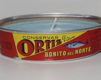 Sea Breeze-Scented Spanish El Velero-Ortiz Tuna Can Candle. Eco-friendly soy wax candle