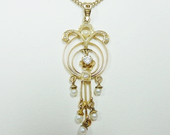 Edwardian 10K Yellow Gold Pendant, Diamond, Seed Pearls,