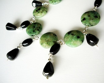 Black Agate and Green Kiwi Stone on silver Handmade Necklace