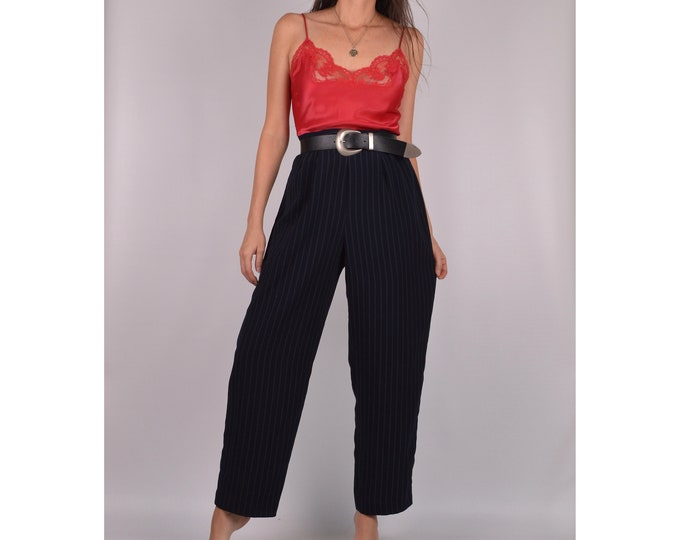 Vintage Pinstriped Lightweight Trousers / S-M / High Waist