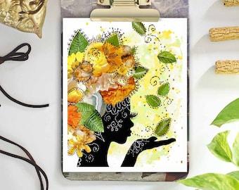 bohemian art - mother earth print - mixed media collage art - orange yellow green wall art