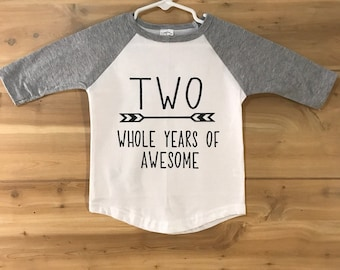 Two years of awesome - Im TWO Birthday Shirt - Second Birthday - 2nd Birthday shirt - Birthday Tee - Party shirt - Toddler Birthday shirt
