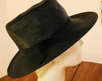 Vintage Wide Brim Black Straw Hat