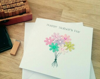 Handmade Mother's Day paper flower bouquet card