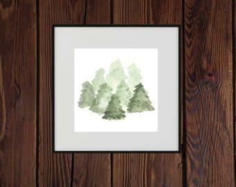 Watercolor pine trees, printable watercolor trees, pine forest watercolor, square watercolor art
