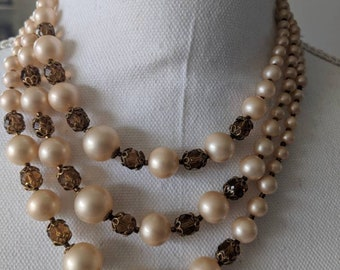 Triple Strand Pearl & Amber Glass Bead Necklace