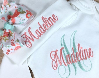 Personalized Coming Home Outfit, Monogram Clothing Gift Coral Mint Baby Gown, Newborn Girl Outfit, Baby Girl Coming Home Outfit, Personalize