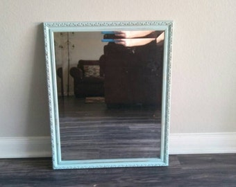 Elegant Aqua Blue Mirror, Beveled Mirror, Beach Mirror, Cottage Mirror, Cottage Decor, Wall Mirror, Rectangular Mirror, Hanging Mirror