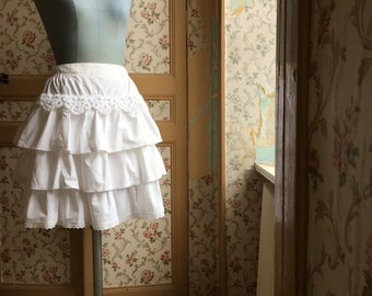 white linen three tiered skirt