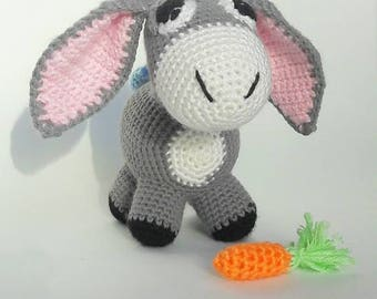 Knitted toy donkey/knitted toys/amigurumi/knitted toy/knit toys/amigurumi animals/knit donkey/donkey/knitted donkey/toy donkey/toys donkey