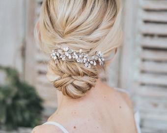 "Bridal Hair Accessories, Bridal Headpiece ~ ""Danielle"" Hand Beaded Flower Hair Vine in Silver, Gold or Rose Gold"