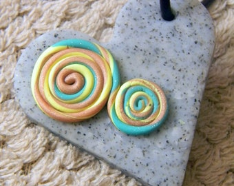 Spiral Heart Polymer Clay Pendant