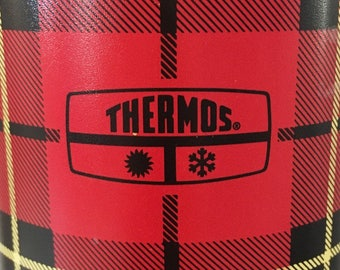 Vintage Thermos® No. 2442 Insulated Bottle Metal Vacuum Flask Retro Red Plaid 1973 King-Seeley