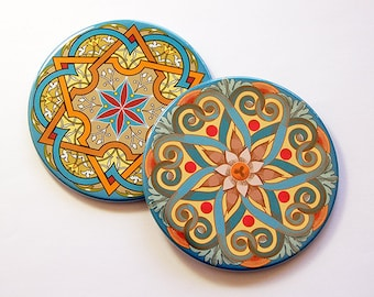 Mandala Coasters, Coasters, Drink Coasters, Set of Coasters, Hostess Gift, Home Decor, Bright colors, Blue, Gold, Orange, Oriental (5187)