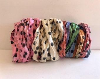 Silk Sari Ribbon-Dot in 3 Colors Sari Ribbon-9 Yards