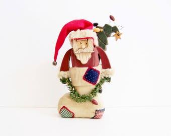 Handmade Vintage Santa, Rustic Christmas Decor, Wooden Santa, Holiday Decoration