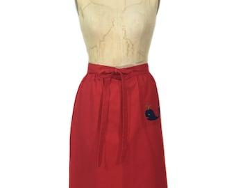vintage 1970's whale skirt / Skyr / wrap skirt / red / spring summer / novelty skirt / women's vintage skirt / tag size medium