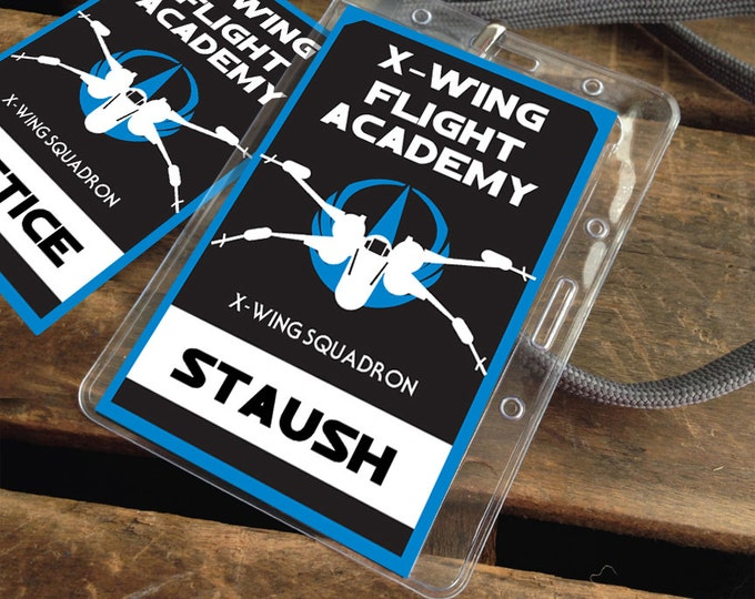Star Wars X-Wing Flight Academy Badges - Rebellion Badges, Star Wars Party - blue | Editable Text - DIY Instant Download PDF Printable