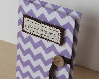 mothers day gift purple chevron personalized photo album brag book multiple color options