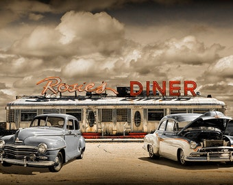 Retro Photo of Historic Rosie's Diner and Vintage Automobiles near Rockford Michigan No.Retro83035 50's Diner Car Color Fine Art Photography