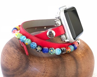 Apple Watch Band 38mm Women Red Vegan Leather Apple Watch Bracelet Apple Watch Strap iWatch band Beaded Apple Watch Band 42mm iWatch Strap