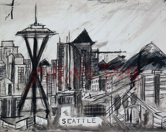 Seattle Art Print: Seattle Skyline featuring The Space Needle, 11X14