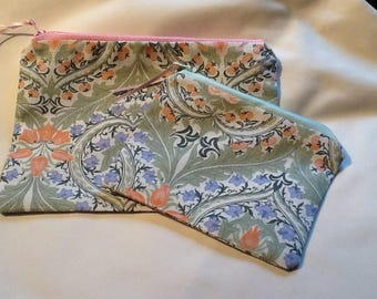 William Morris Print Zipped,Lined Set of two Handy Bags .