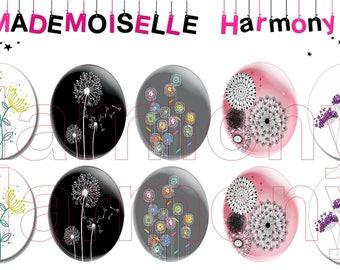 10 glass dandelion cabochons size 18/25 mm cabochons