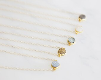 Delicate Druzy Drop Necklace - Natural Druzy, Druze, Gemstone, Druzy jewelry, sterling silver, gold, sparkle, glitter, dainty necklace