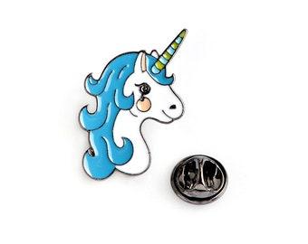 Cute Blue Unicorn Enamel Pin Badge, Cute Pin Badge, Magical Pin,  enamel badge,