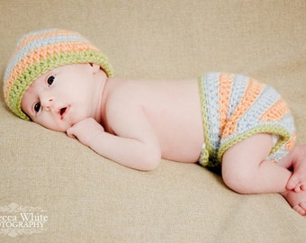 CROCHET PATTERN PDF - Instant Download - Striped Crochet Beanie and Diaper Cover Pattern - Permission to Sell Finished Items