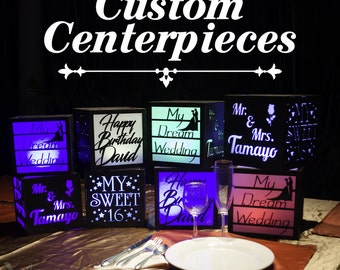 12 Custom centerpieces with LED remote color changing lights. Wedding, Birthday, Baptism, Graduation, Quinceanera, Bar Mitzvah, any party