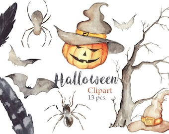 Halloween Watercolor clipart set
