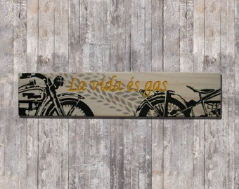 Poster of wood Gas decoration stencil-art