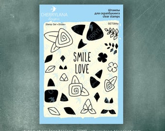 """Smile Set of Flower Stamps 4x6"""" Clear Photopolymer Rubber Stamp Set"""