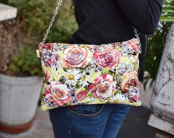 Leather bag,leather clutch, leather purse,flowers clutch,printed clutch,printed leather,patent leather clutch,yellow leather clutch