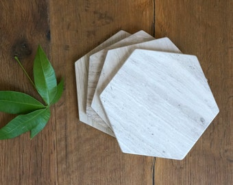 Sale*** Hexagon Marble Coasters. Set of 4. Wooden White Honed Marble. Natural Stone Coasters. Geometric Coasters