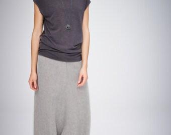Minimalist Top / Short Sleeved Top / Handmade / Brown-Grey Women's Blouse/ Casual Top / Asymmetrical Top by AryaSense/ TPPKR14BG