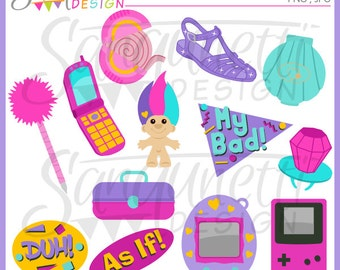 90s clipart, nineties clipart, retro clipart, gameboy clipart, instant download