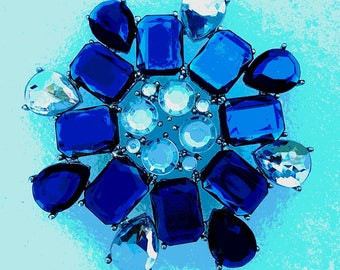 Vintage glass snowflake pin