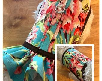 Bahama Ruffle Dog Harness Made in USA, dog dress, dog harnesses, pet clothing, tropical print