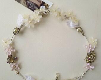 Hair Vine with pink & blush vintage fabric flowers, vintage embellishments on silver wire  ~ BoHo Beach Wedding ~ Bridal ~ Hair Decoration