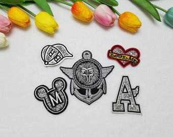 Iron on patches. Small patches set. Set of 5