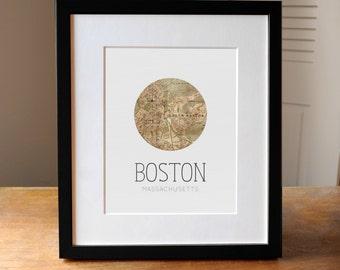 Boston Map, Map of Boston, Boston Art, Boston MA, Boston Poster, Massachusetts, City Map Art