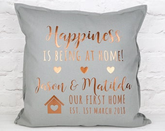First Home Cushion - New Home Gift - Personalised Cushion - Grey Copper Pillow - Copper Home Decor - Happiness Gift - Sofa Pillow