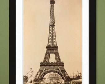 Famous Structures – Eiffel Tower – Paris Exposition – 1889 (12x18 Heavyweight Art Print)
