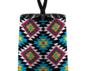 Car Trash Bag // Auto Trash Bag // Car Accessories // Car Litter Bag // Car Garbage Bag - Aztec Navajo Tribal Turquoise Yellow Pink Aqua