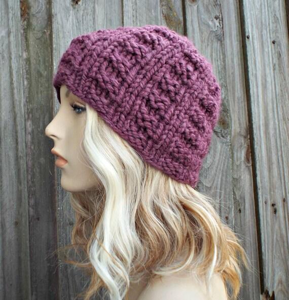 Fig Purple Knit Hat Purple Womens Hat Mens Hat - Purple Hat Purple Beanie - Winter Beanie Warm Hat - Waffle Beanie - READY TO SHIP