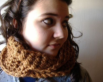 Infinity Wrap Cowl Chunky Warm Neckwarmer Scarf Brown Hazelnut