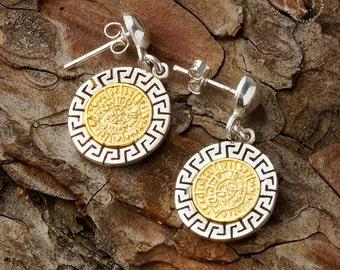 Phaistos Disk - Meander Silver Earrings, Greek Key, Phaistos Disc, Sterling Silver Earrings, Phaistos Scheibe